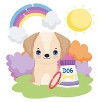 hondje zitten in gras en voedselpakket buiten huisdieren