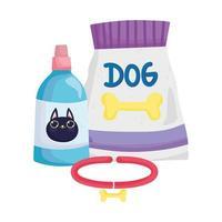 voerpakket hondenhalsband en veterinaire fles voor kattenhuisdieren