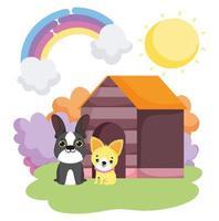 honden zitten voor houten huis landschap huisdieren