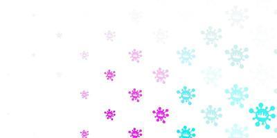 lichtroze, blauwe vectorachtergrond met covid-19 symbolen