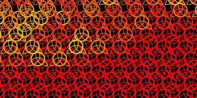 donkerrode, gele vectortextuur met godsdienstsymbolen.