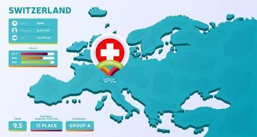 isometrische kaart van europa met gemarkeerd land zwitserland