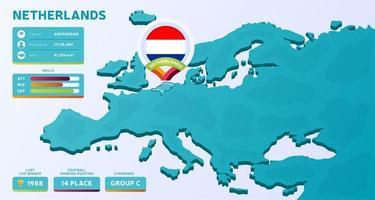 isometrische kaart van europa met gemarkeerd land nederland vector