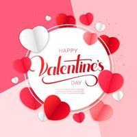 gelukkig Valentijnsdag ontwerp met papier gesneden harten rond cirkelframe