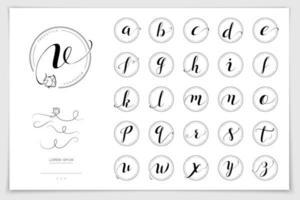 hand getekend alfabet geschreven met penseel pen. vector