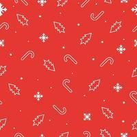 naadloze Kerst patroon met sneeuwvlokken, kerstbomen en snoep