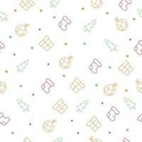naadloos kerstpatroon met kerstboom, sokken, gitf-dozen, sterren en boomballen