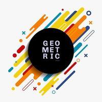 abstracte kleurrijke geometrische compositie gemaakt van verschillende afgeronde vorm diagonale lijnen met zwarte cirkel ruimte voor uw tekst. vector