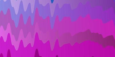 lichtroze, blauwe vectorachtergrond met gebogen lijnen.