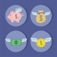 geld dollars en piggy vliegen vector