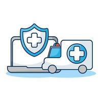 laptop met schild en ambulance telegeneeskunde vector