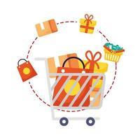 winkelwagentje met marketing set pictogrammen