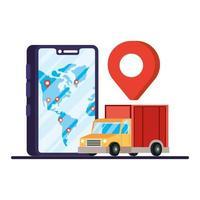 smartphone met vrachtwagenbezorgservice