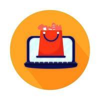 laptop met boodschappentas