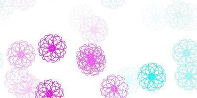 lichtroze, blauw vectorkrabbelpatroon met bloemen.