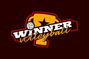 winnaar volleybal vector logo
