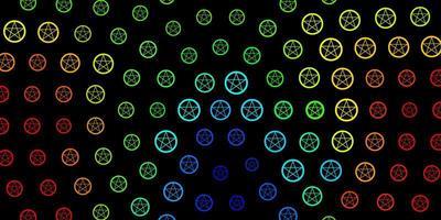 donkere veelkleurige vectorachtergrond met mysteriesymbolen.