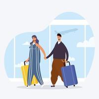 jong koppel reizigers met koffers avatars karakters