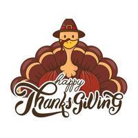 happy thanksgiving day viering belettering met kalkoen met pelgrim hoed