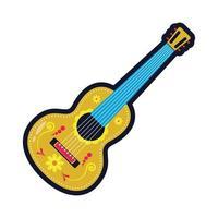 traditionele Mexicaanse gitaar instrument vlakke stijl pictogram vector illustratie ontwerp