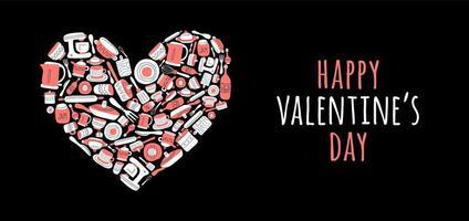 gelukkige valentijnskaartdaggroet met keukengereedschap in hartvorm