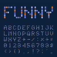 kleurrijk retro gestippeld lettertype of alfabet