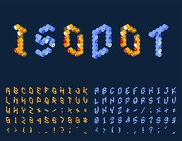 gestippelde isometrische techno lettertypeset