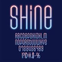 schijnen neon vector lettertypeset