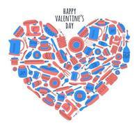 gelukkige valentijnskaartdaggroet met keukengereedschap in hartvorm vector
