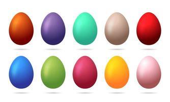 set van 10 kleuren paaseieren vector