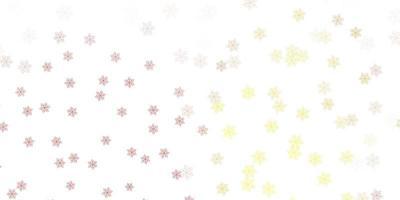 lichtrood, geel vector natuurlijk kunstwerk met bloemen.