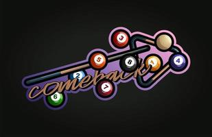 biljart vector sport typografie sticker