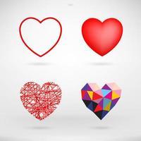 harttekens en symbolen die voor Valentijnsdag worden geplaatst