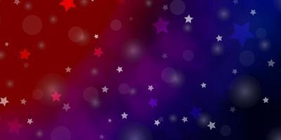 lichtblauw, rood vectorpatroon met cirkels, sterren.