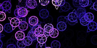 donkerpaarse vector achtergrond met occulte symbolen.