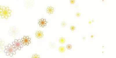 lichtgele vector doodle sjabloon met bloemen.