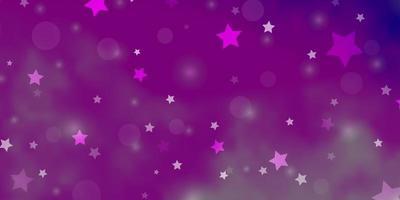 lichtpaarse vectortextuur met cirkels, sterren.
