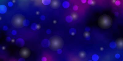 donkerroze, blauwe vectorachtergrond met cirkels, sterren. vector