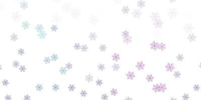 lichtroze, blauw vector doodle sjabloon met bloemen.