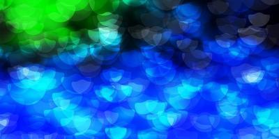 donkerblauwe, groene vectortextuur met schijven.