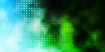 lichtblauwe, groene vectorachtergrond met stippen.