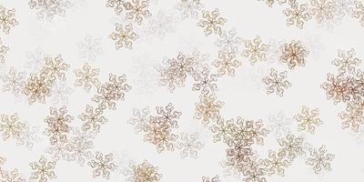 licht oranje vector doodle patroon met bloemen.