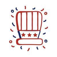 VS hoed met vlag lijn stijl vector illustratie ontwerp