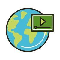 aardeplaneet met mediaspeler vector