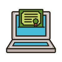 afstudeercertificaat op laptop vector