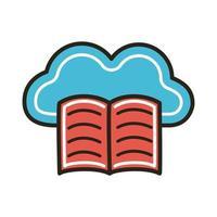 elektronisch boek met cloud computing-onderwijs vector
