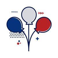 ballonnen helium met Frankrijk vlag kleuren vlakke stijl vector