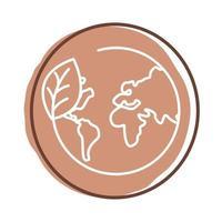 bladplant met blokstijl van de planeet aarde vector
