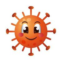 covid19 deeltje gelukkig emoticon karakter vector