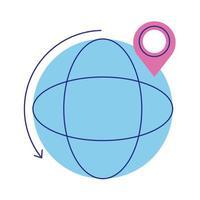 bol aarde planeet met pin locatie vlakke stijl